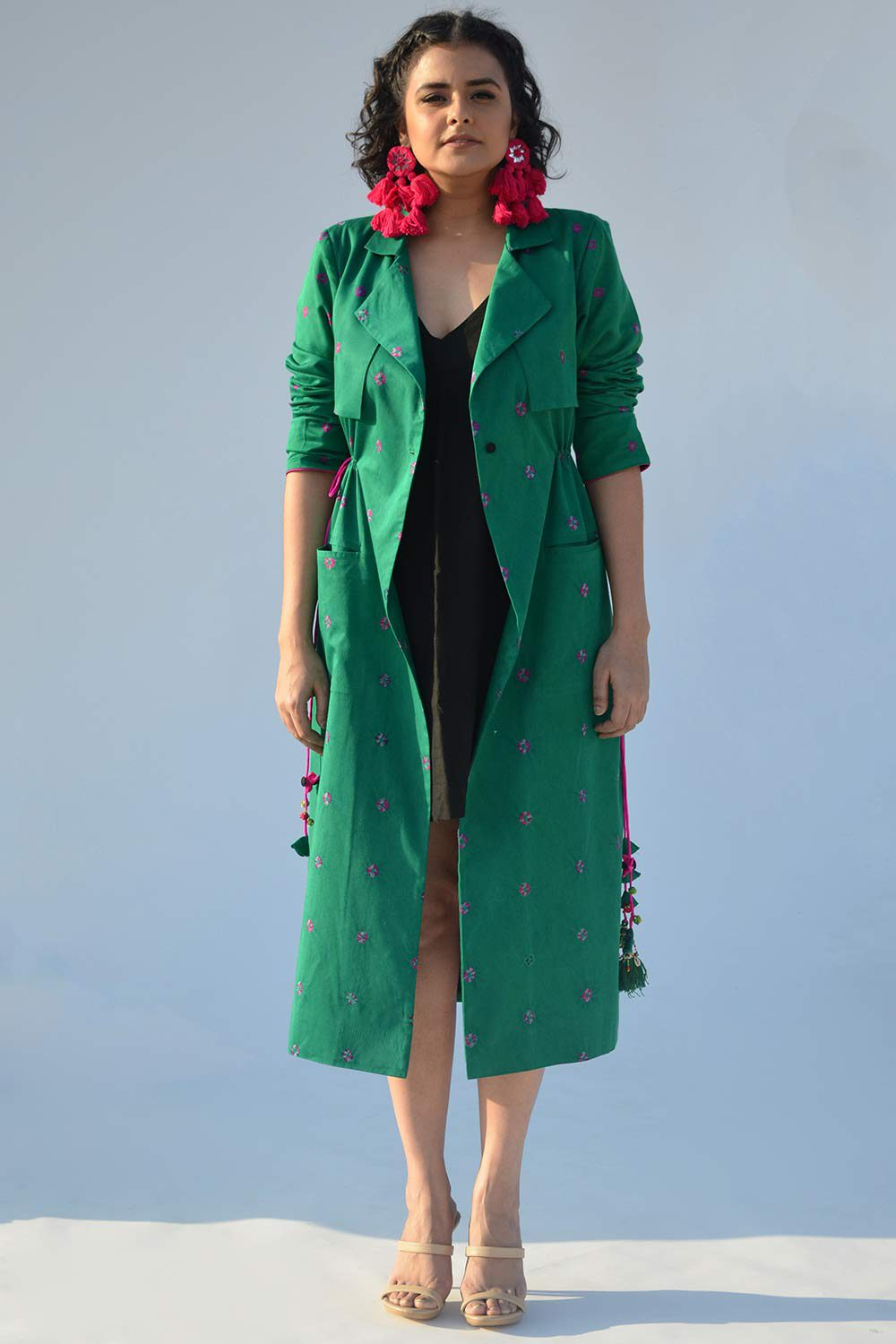 Green Bandhej Trench Jacket - Riviera Closet