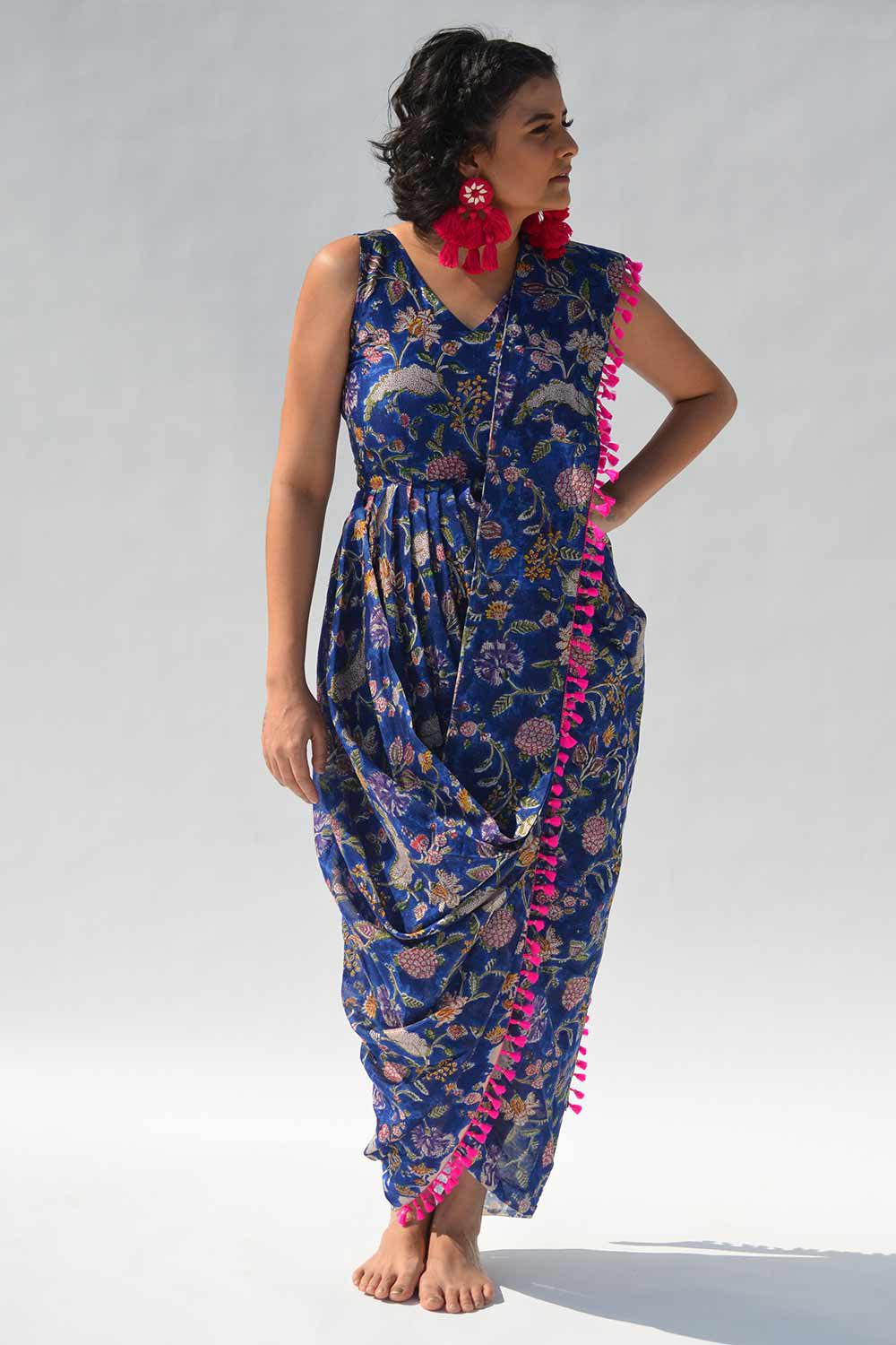 Neel Blue Floral Saree Dress with Bright Pink Tassels - Riviera Closet