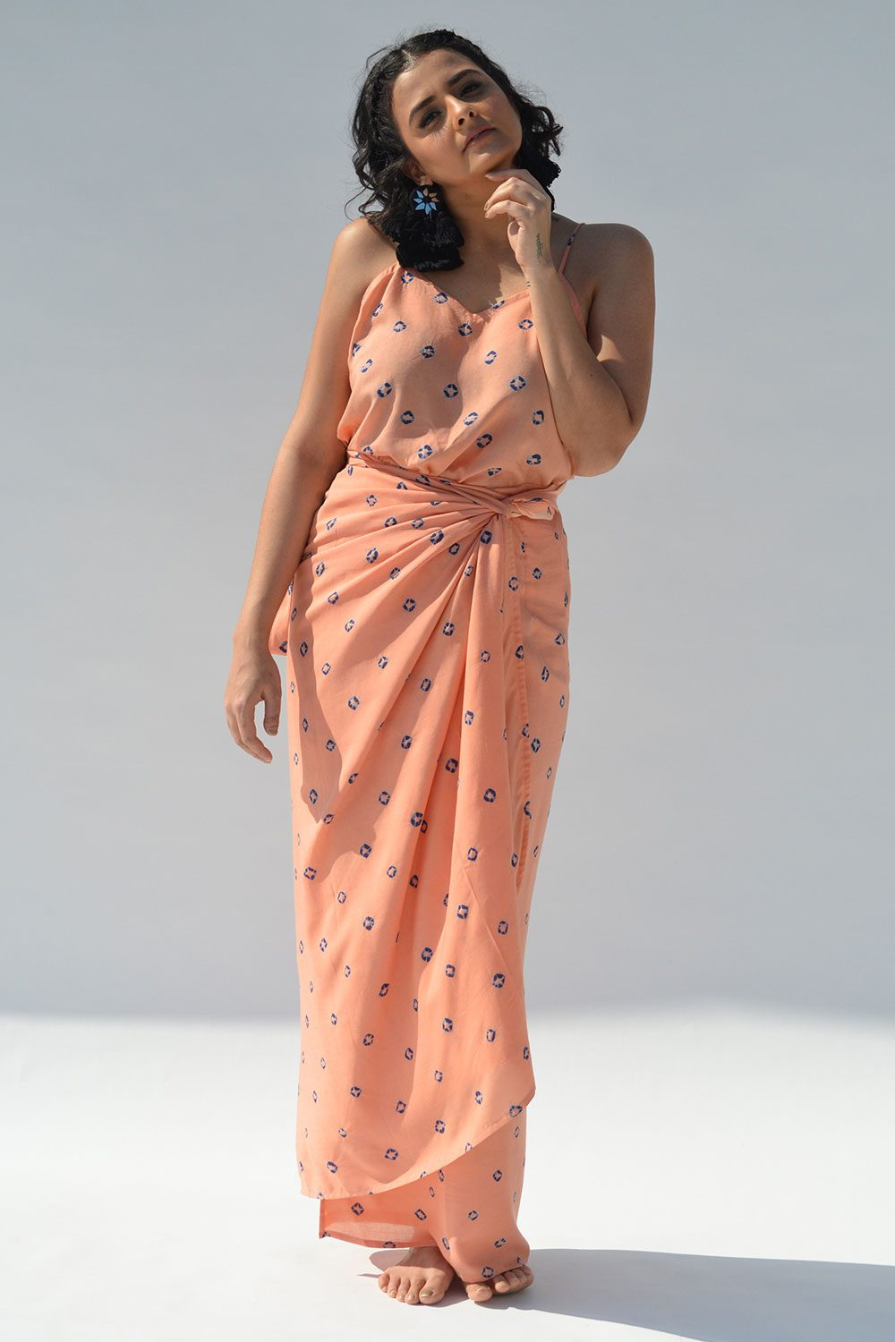 Peach Bandhej Spaghetti Wrap dress - Riviera Closet