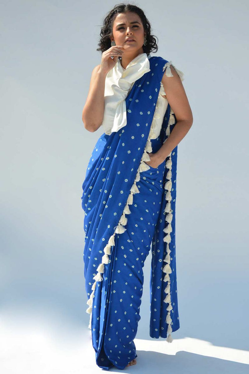 Royal Blue Pre-draped Saree with White Bow Top - Riviera Closet