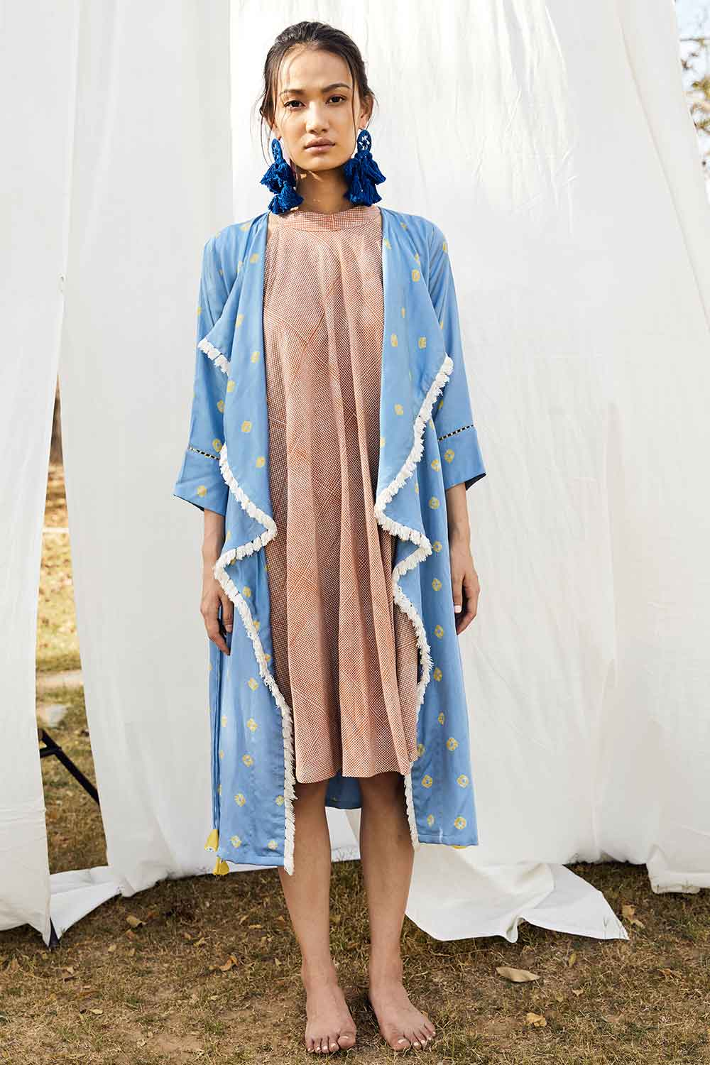 Block Printed Bais Dress With Bandhej Waterfall Jacket - Riviera Closet