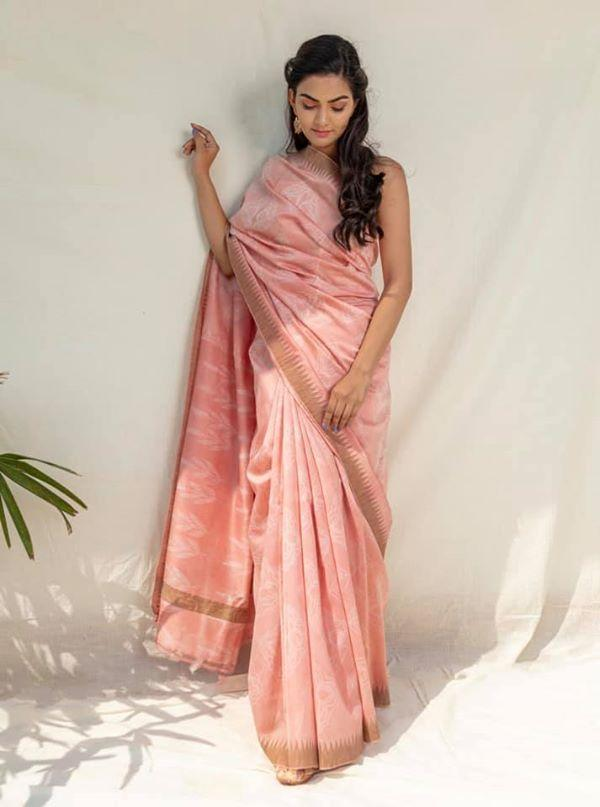 Tea Rose Shibori Chanderi Cotton Saree - Riviera Closet