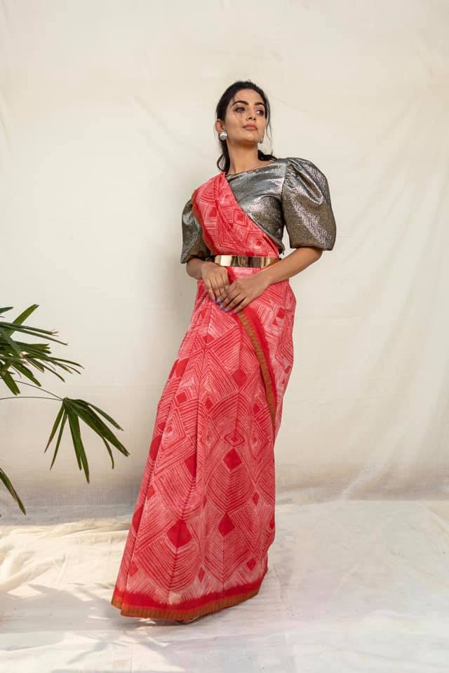 Red Shibori Chanderi Cotton Saree - Riviera Closet