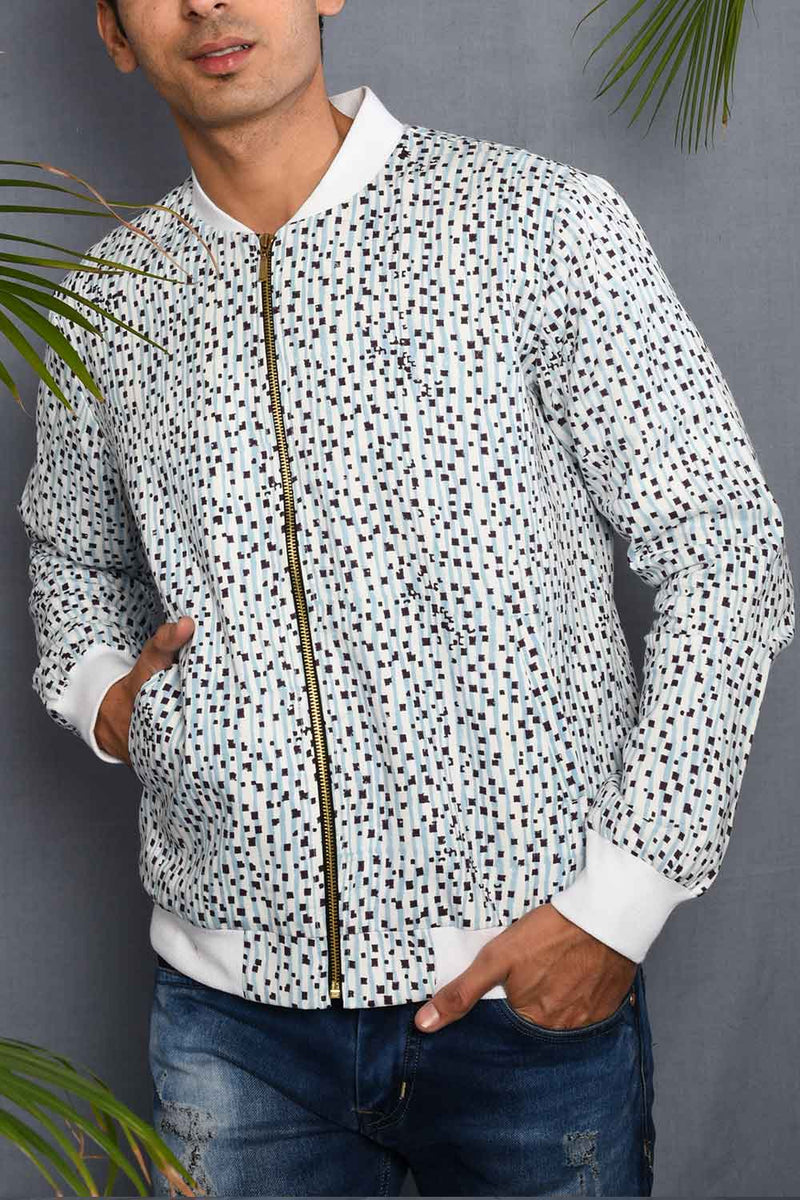 Block Printed Blue Dots Bomber Jacket - Riviera Closet
