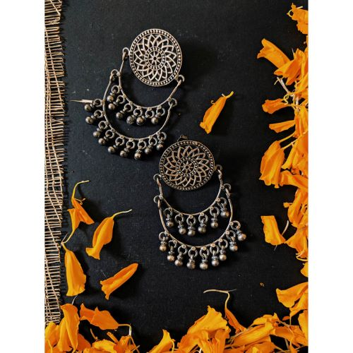 Virasat Silver Bloom Chaandbali Earrings - Riviera Closet