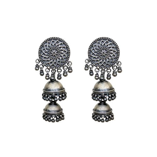 Virasat Silver Bloom Double Jhumki - Riviera Closet