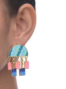 Geometric Love Pink and Blue Gold-plated Enamel Earrings - Riviera Closet