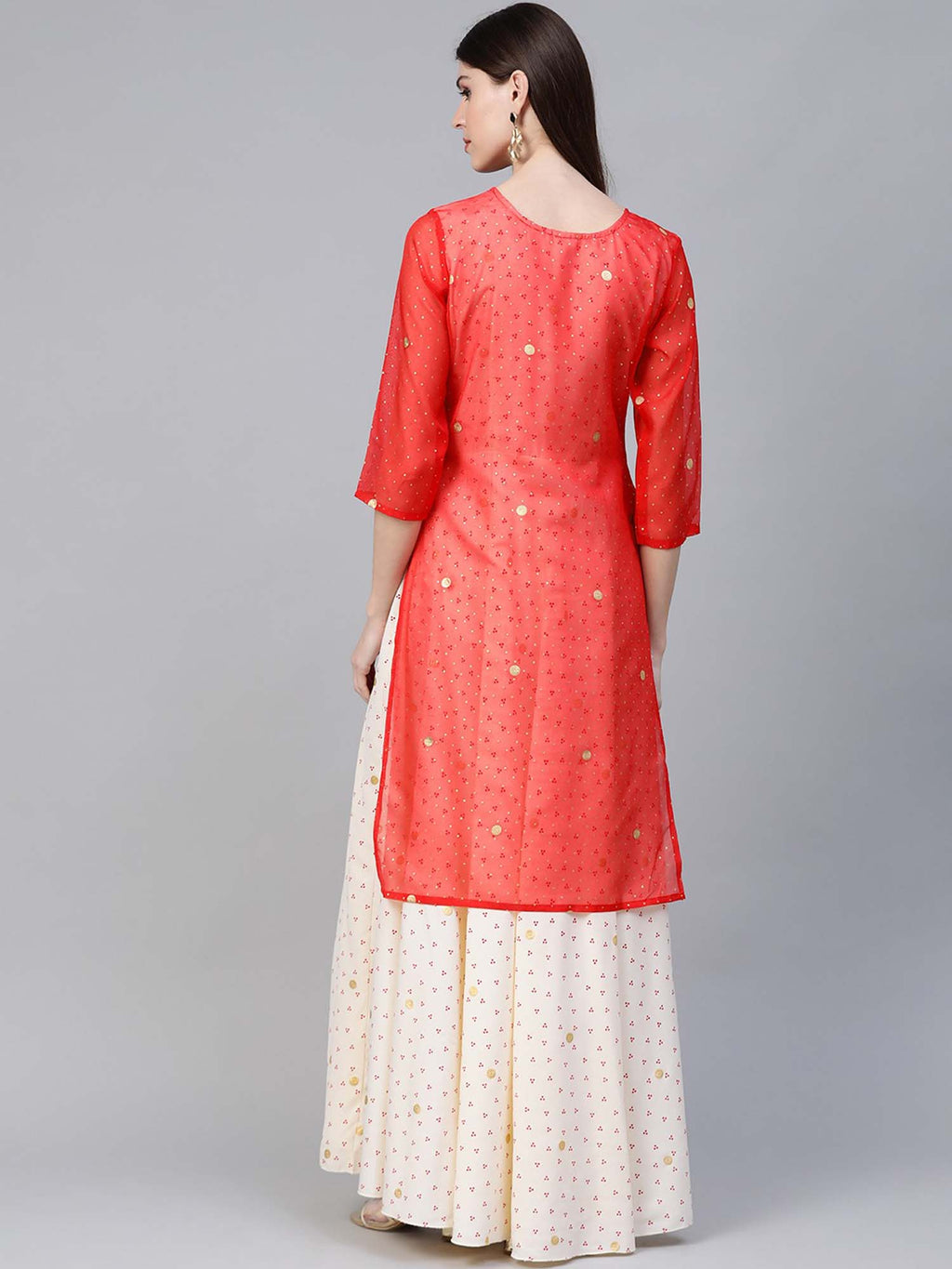 Cream and Peach Straight Kurta with Attached Gown - Riviera Closet