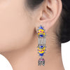 Color Pop Enameled Rawa Interlinked Jhumki Drop Earrings - Riviera Closet