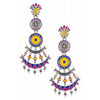Color Pop Floral Moon Multilayer Dangle Earrings - Riviera Closet