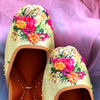 Floral Light Green Digital Printed Juttis with Beadwork Details - Riviera Closet