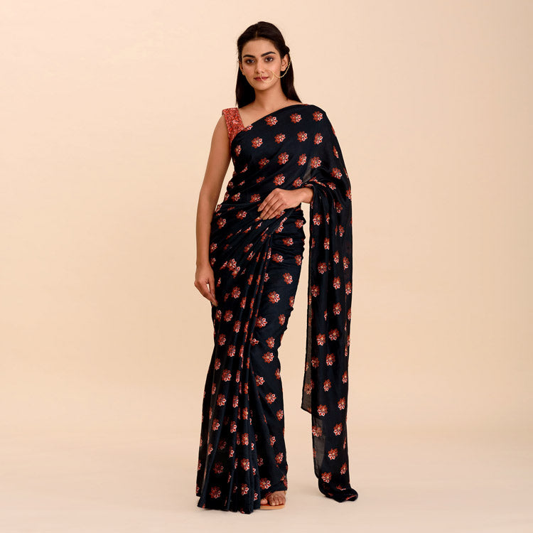 Maya Navy Blue Printed Bamboo Saree with Bead Work - Riviera Closet