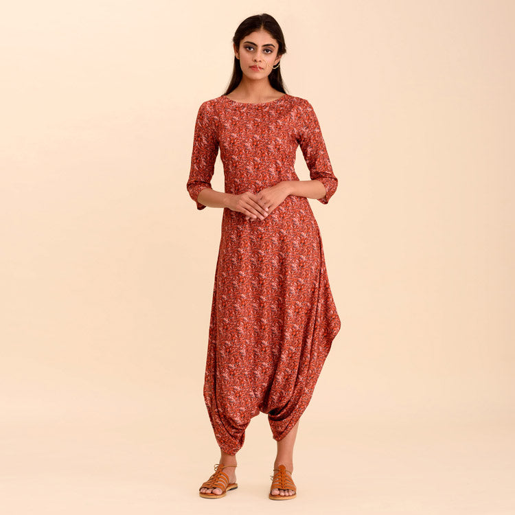 Roli Red Brown Dhoti Jumpsuit with Intricate Floral Details - Riviera Closet