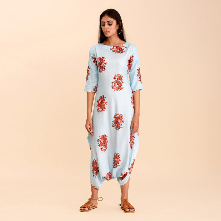 Sitara Pastel Blue Dhoti Jumpsuit with Red Floral Details - Riviera Closet