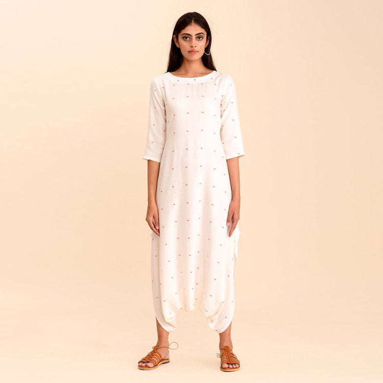 Adaa Daisy White Dhoti Jumpsuit with Intricate Floral Details - Riviera Closet