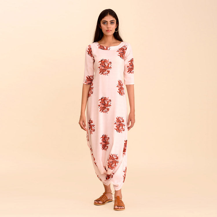 Rysa Off White Dhoti Jumpsuit with Intricate Floral Details - Riviera Closet