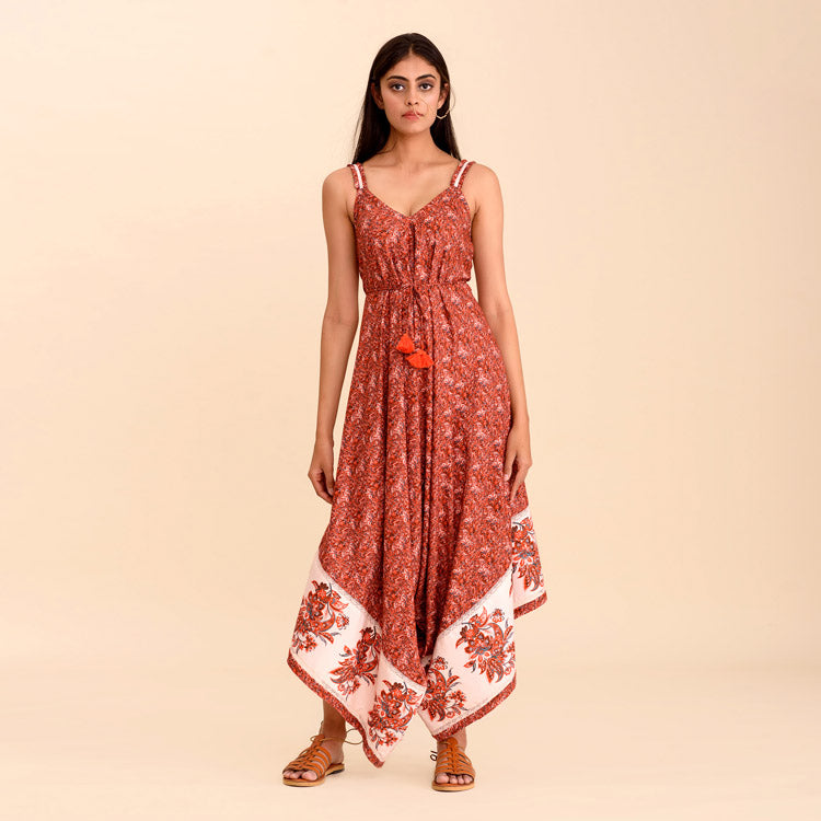 Sargun Red Brown Floral Strap Jumpsuit - Riviera Closet