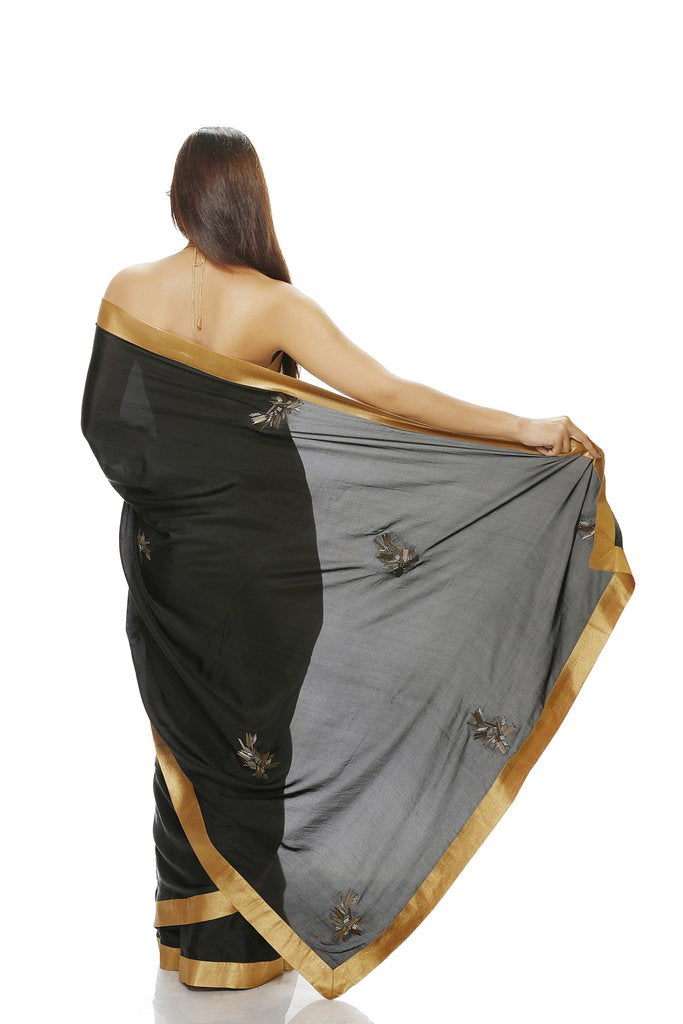 Black Silk Saree with Geometric Motifs - Riviera Closet