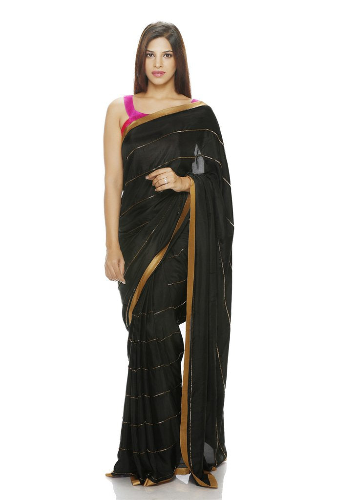 Black Silk Saree with Antique Sequins - Riviera Closet