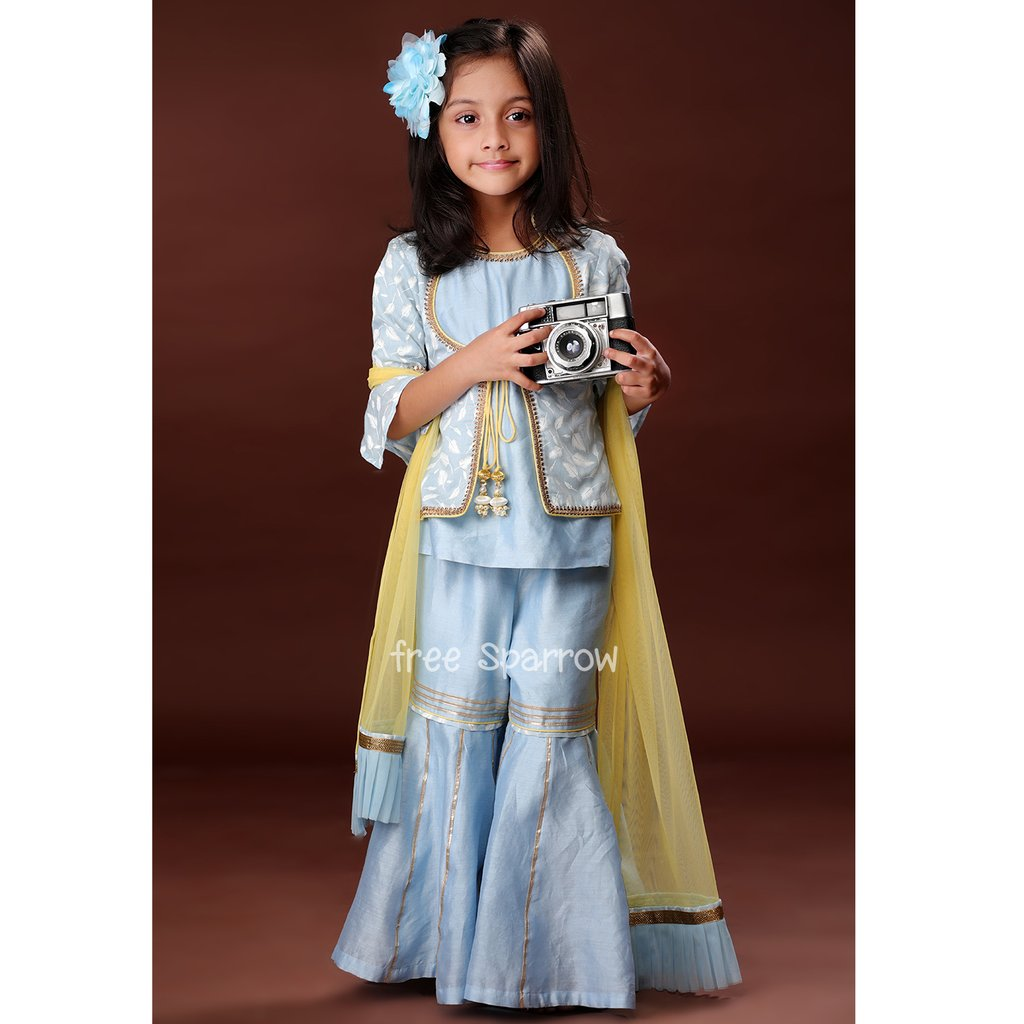 Belle Blue Sharara Set - Riviera Closet