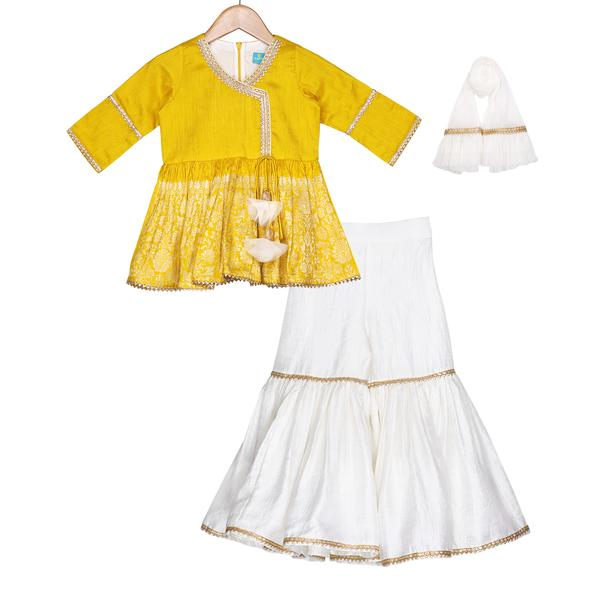 Saffron Gold Sharara Set - Riviera Closet