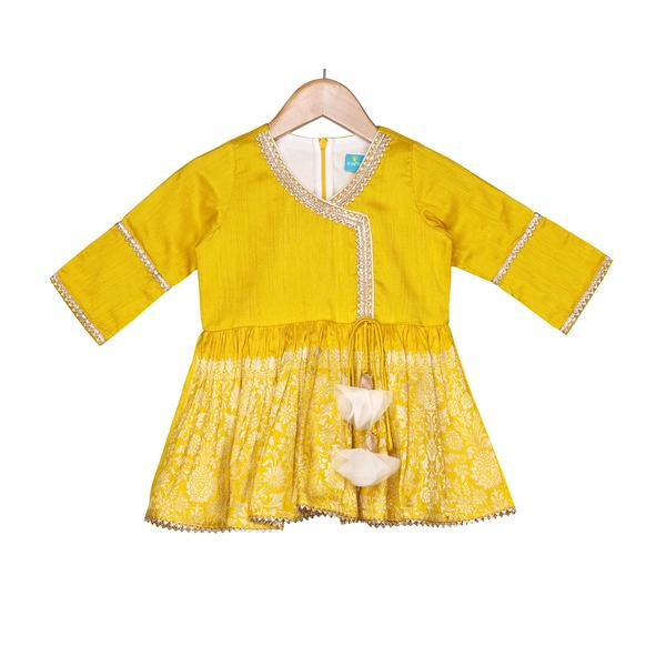 Saffron Gold Sharara Set by FreeSparrow Kids