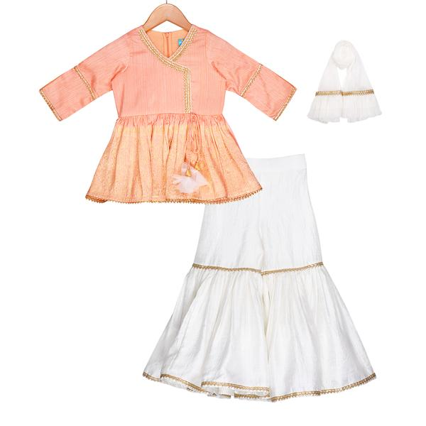 Creamy Peach Sharara Set by Freesparrow Kids