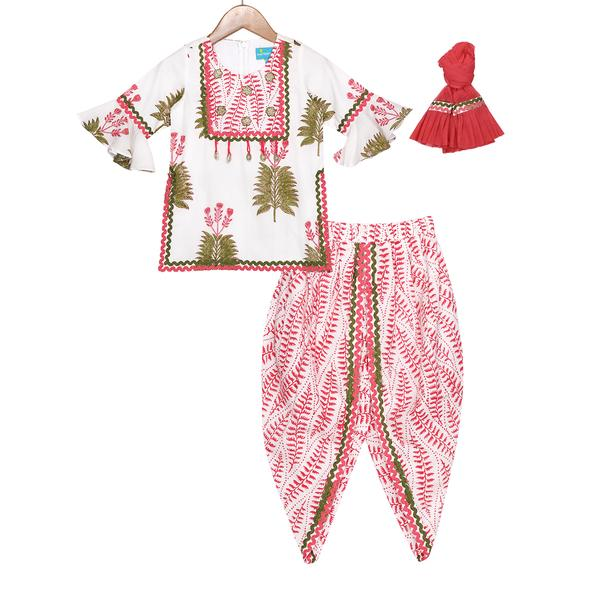 Sia Kurti Dhoti Set by FreeSparrow Kids