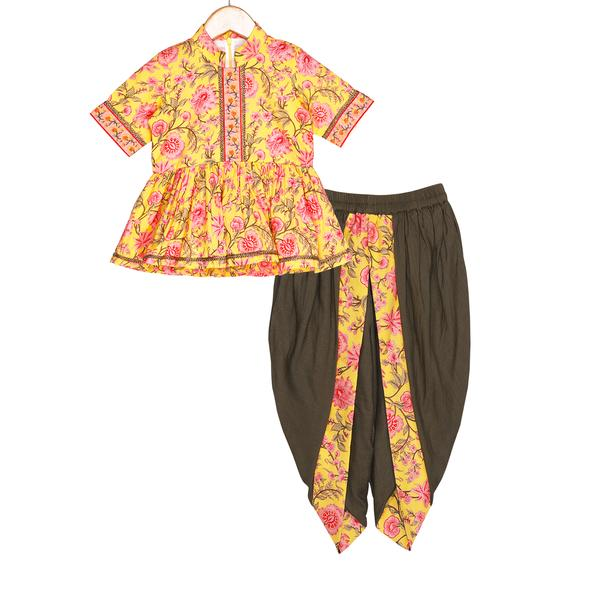 Mahira Dhoti Set by FreeSparrow Kids