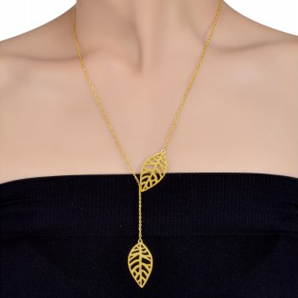 Gold Plated Leaf Necklace  - Riviera Closet