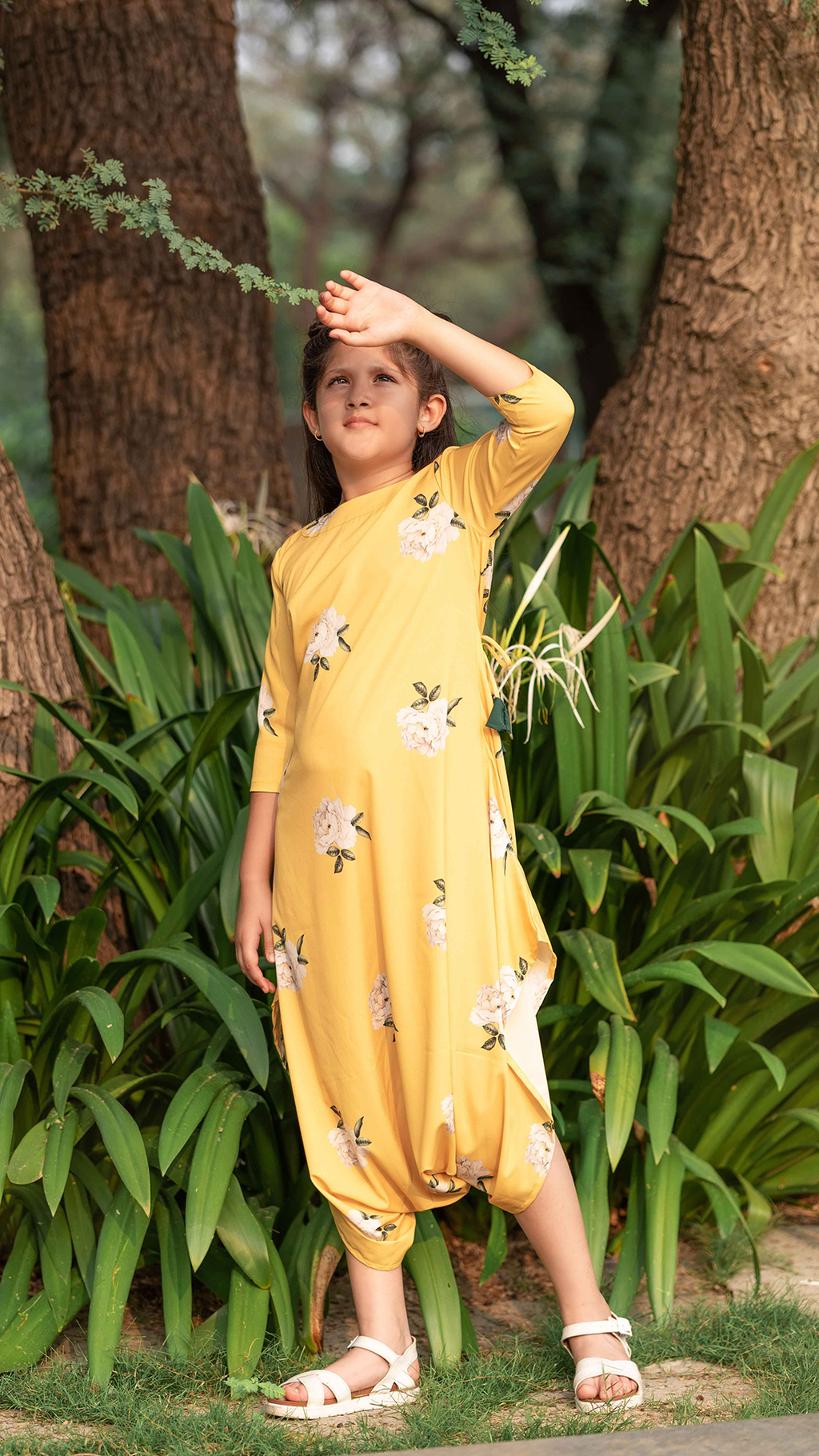 Girls Goldspot Yellow Floral Dhoti Jumpsuit - Riviera Closet