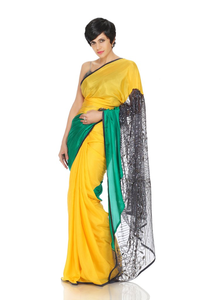 Green and Yellow Hand Embroidered Saree - Riviera Closet