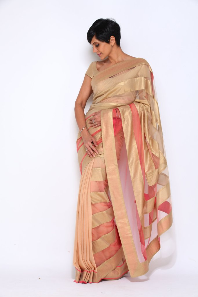 Beige and Pink Saree with Gold Stripes - Riviera Closet