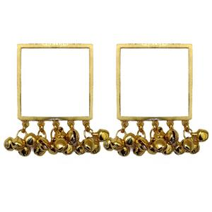 Square Ghunghroo Gold-plated Earrings - Riviera Closet
