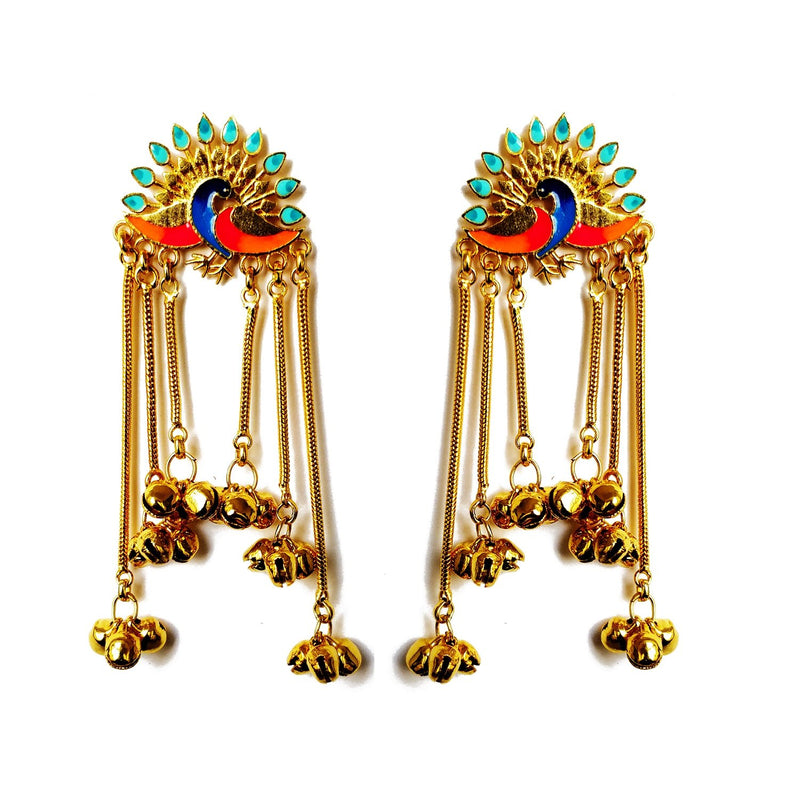 Peacock Ghunghroo Earrings - Riviera Closet