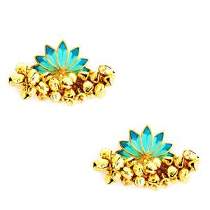 Lotus Ghunghroo Gold-plated Enamel Earrings - Riviera Closet