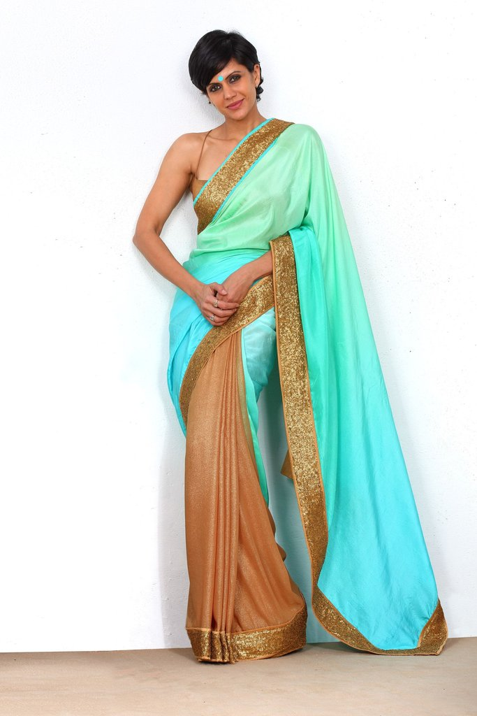Aqua Green Saree with Sequin Border - Riviera Closet