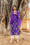 Mehnaaz Purple Uppada Silk Salwar Suit Set - Riviera Closet