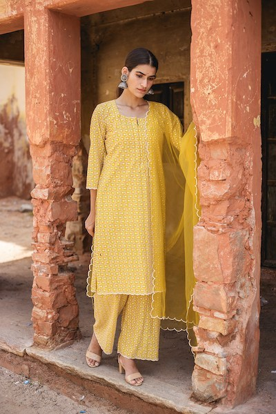 Classic Yellow Chikan Embroidered Salwar Suit Set - Riviera Closet