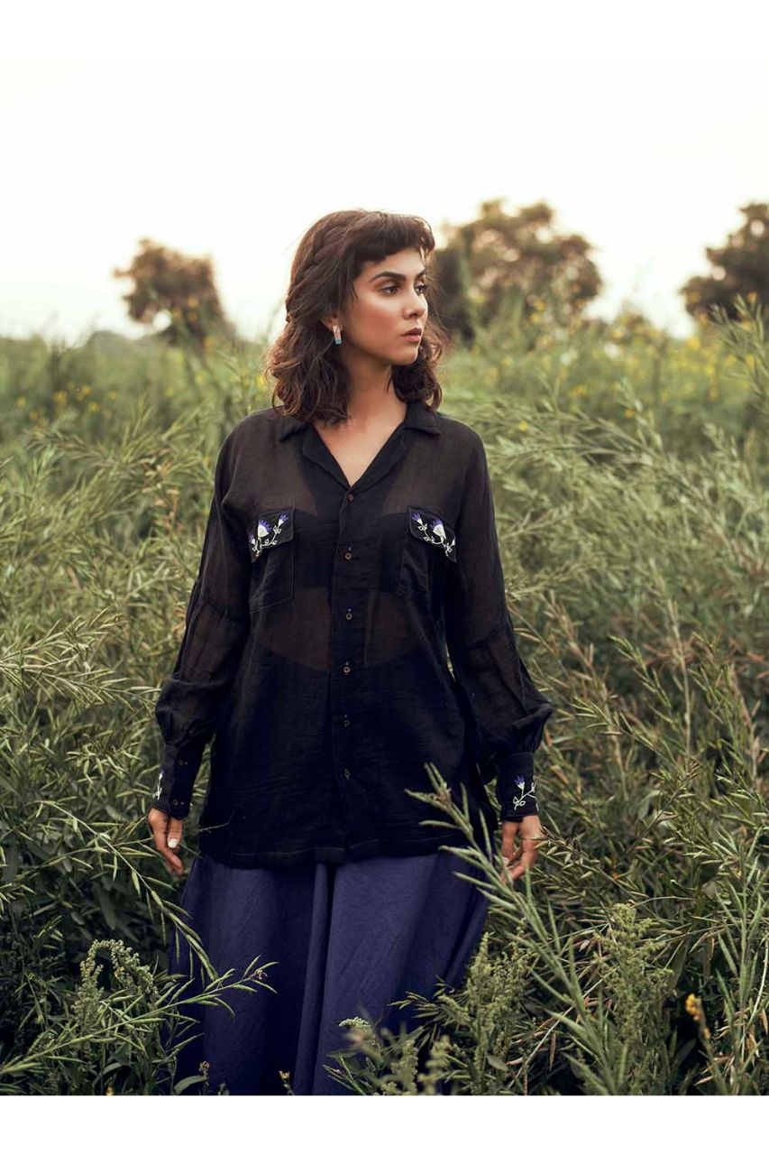 Classic Nightingale Black Collared Shirt with Mughal Embroidery - Riviera Closet