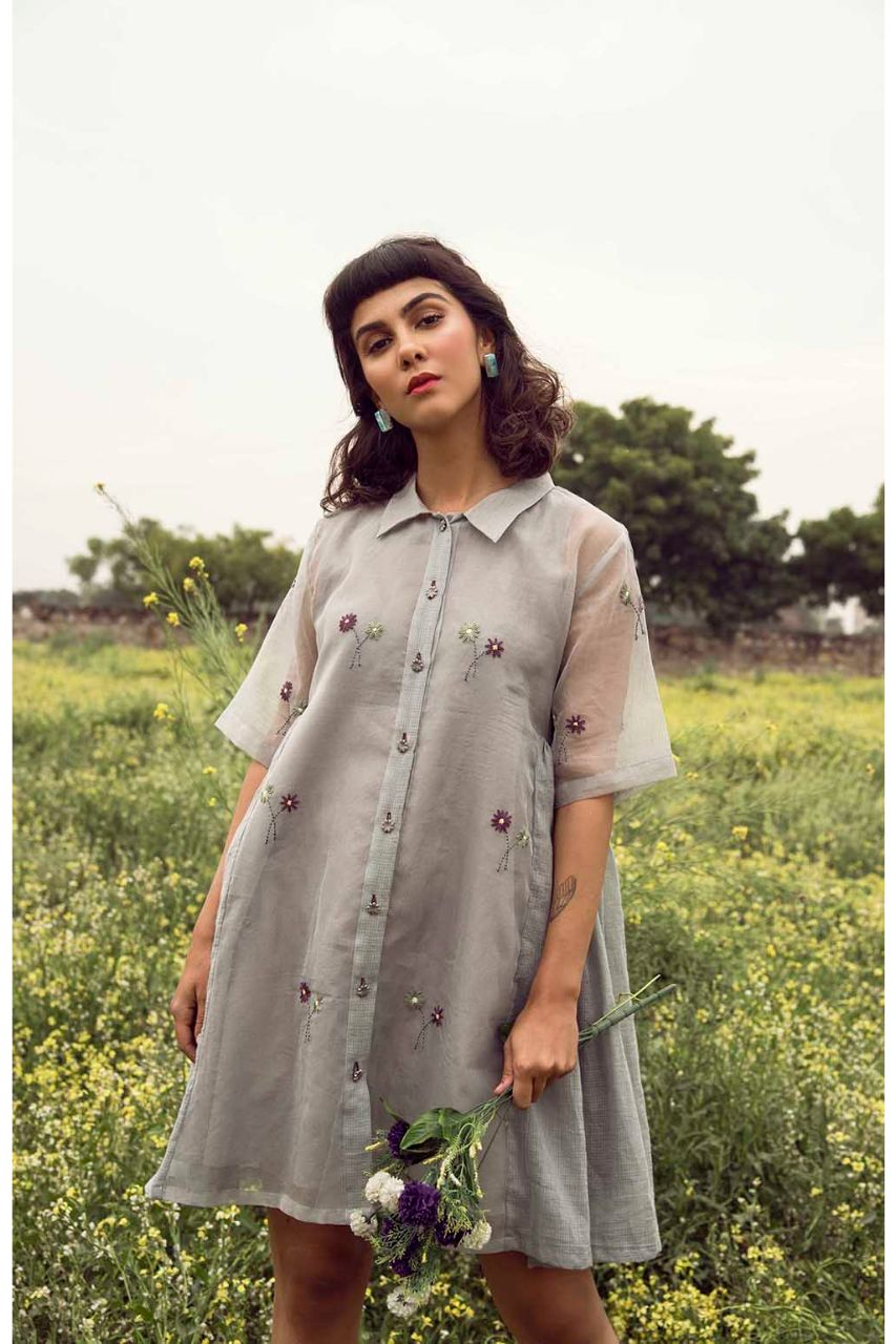 Handwoven Kota Doria Lilies in Neverland Shirt Dress - Riviera Closet