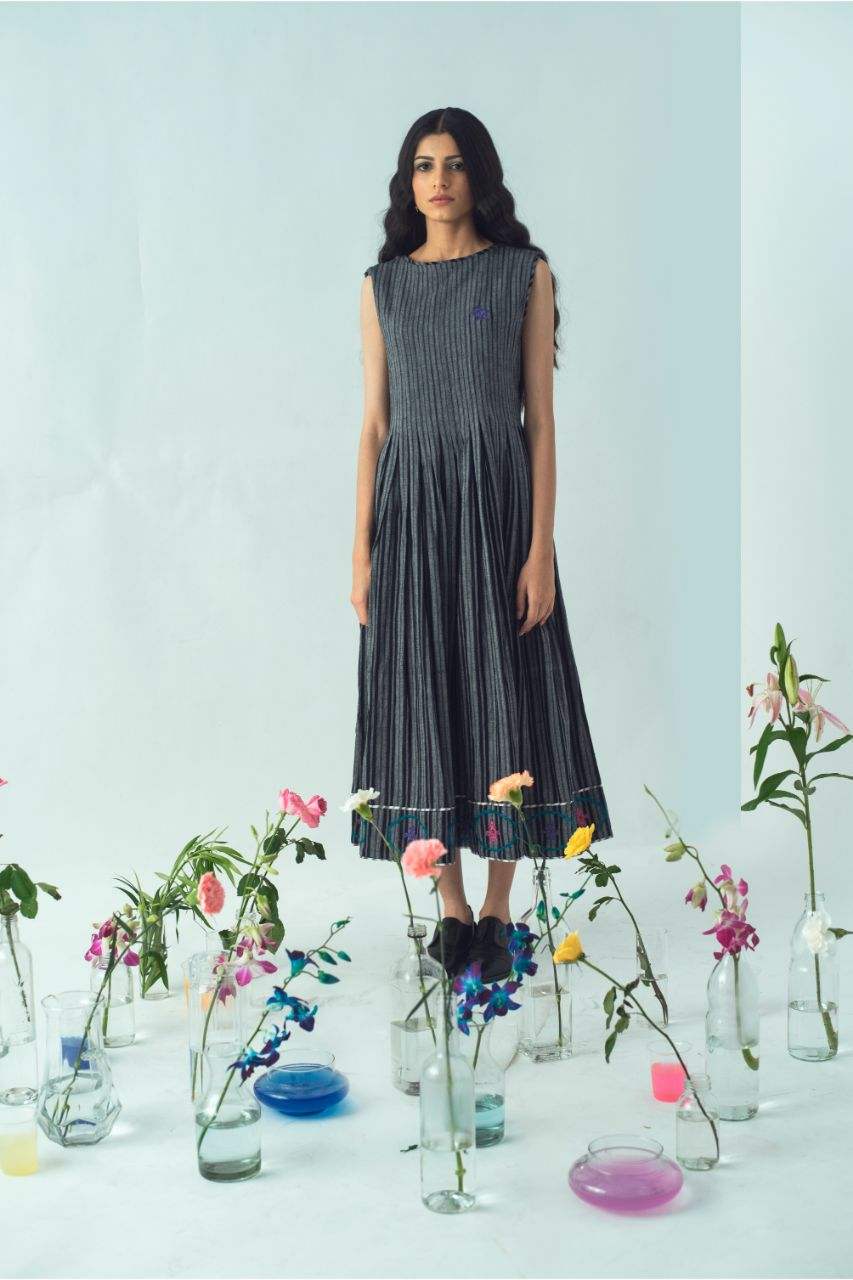 Deep Grey Pleated Kutch Cotton Dress - Riviera Closet