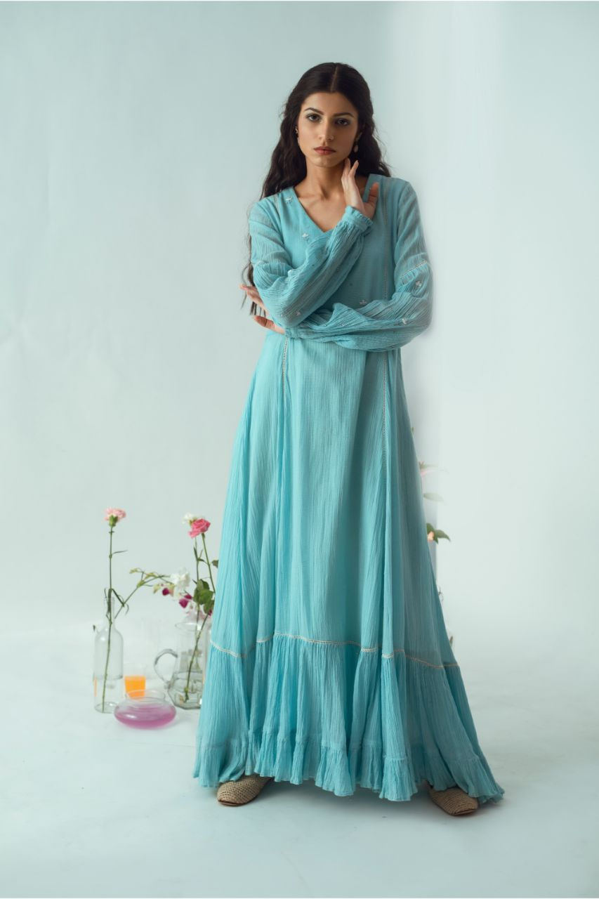 Kota Powder Blue Embroidered Maxi Free Thy Self Dress - Riviera Closet