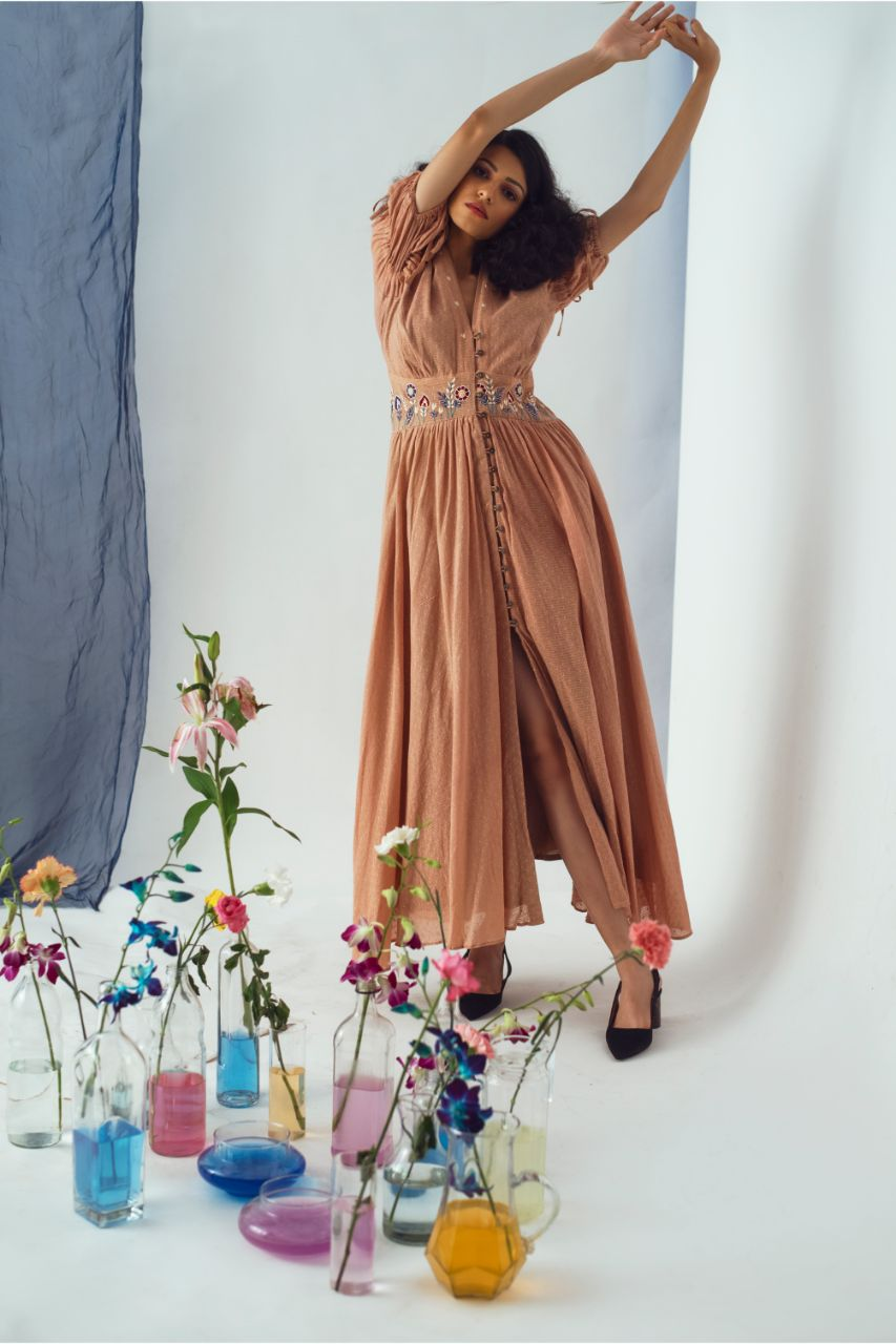 Handloom Cotton Tan Button Summer Paradise Maxi Dress - Riviera Closet
