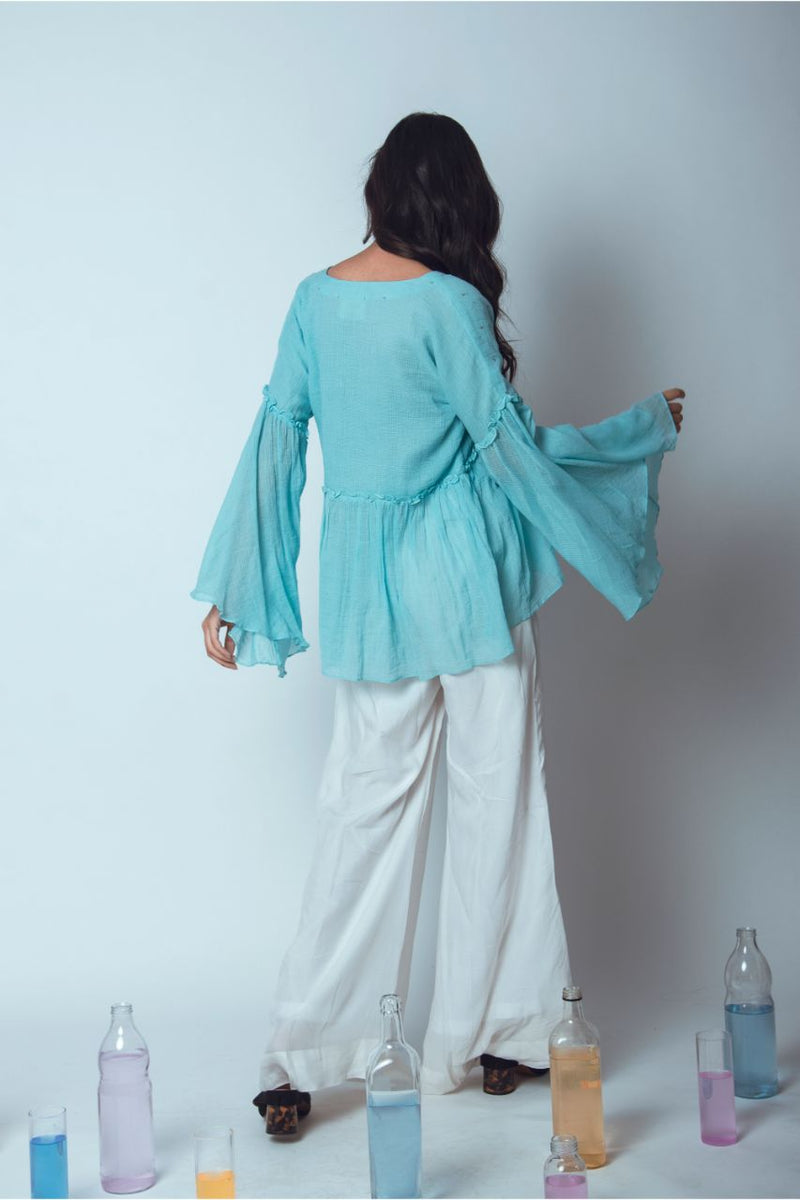 Dainty Hand Embroidered Sky Blue Kota Blouse - Riviera Closet