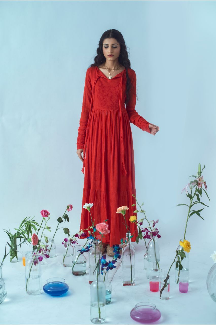 Handwoven Red Kota Lovers Paradise Maxi Dress - Riviera Closet