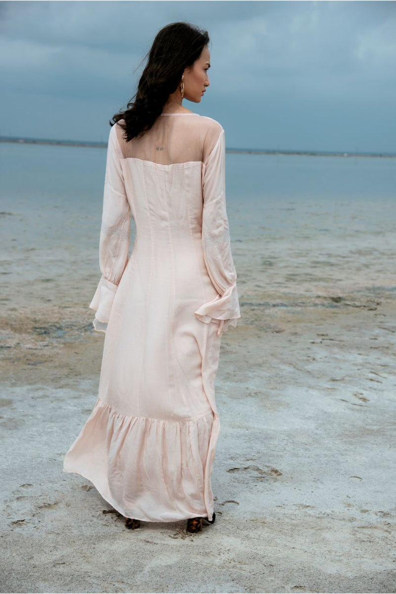 Light Pink Silk Cotton Organza Lucid Dream Tiered Maxi Dress - Riviera Closet
