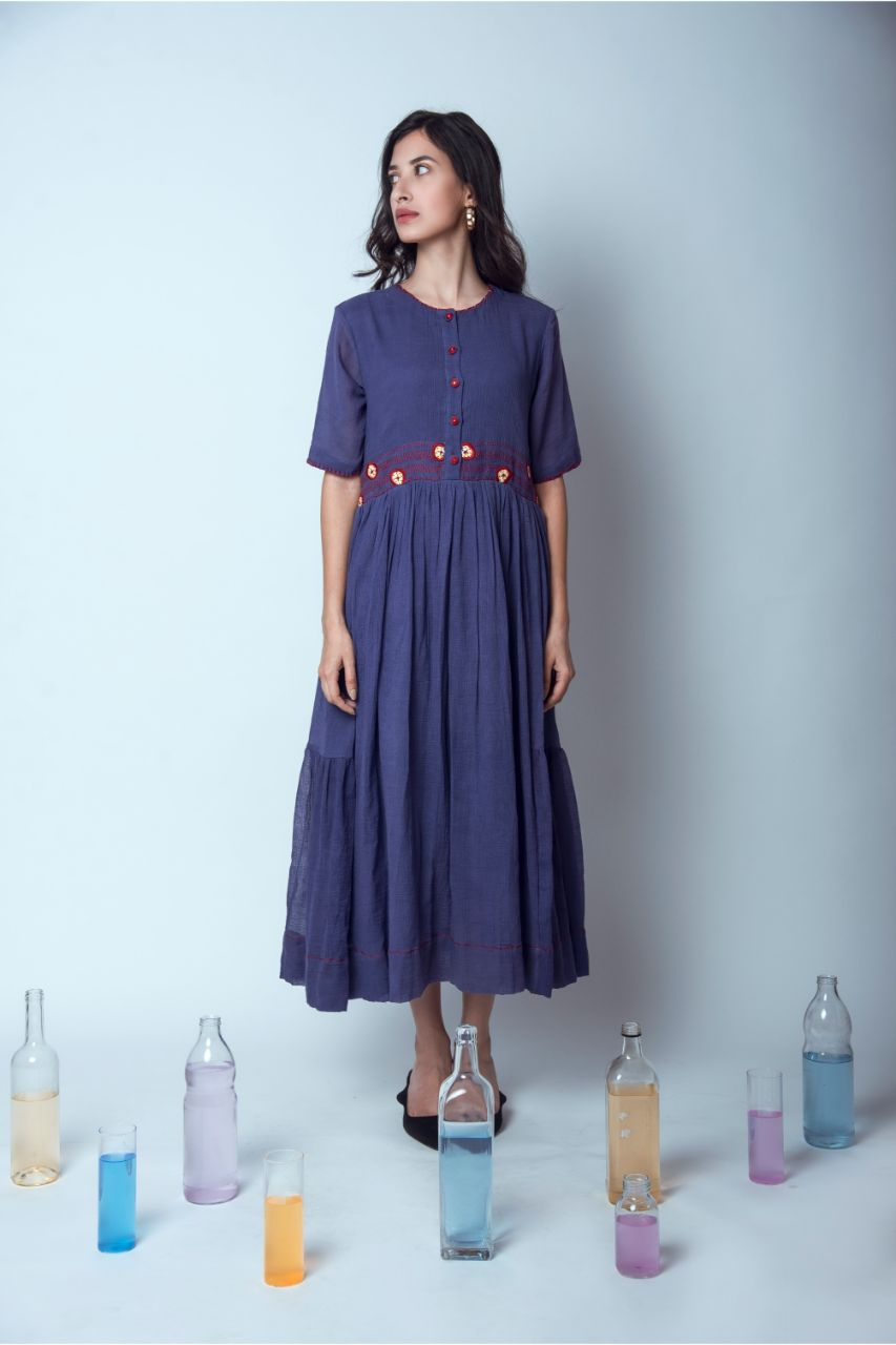 Two Tiered Hand Embroidered Blue Kota Dress - Riviera Closet