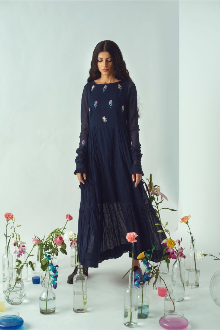 Hand Embroidered Navy Bird Tiered Maxi Dress - Riviera Closet