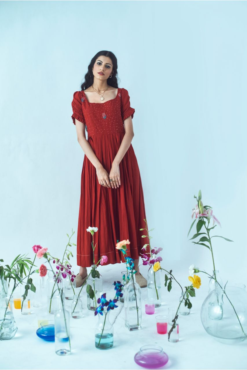 Deep Red Hand Embroidered Knotty Tales Midi Dress - Riviera Closet